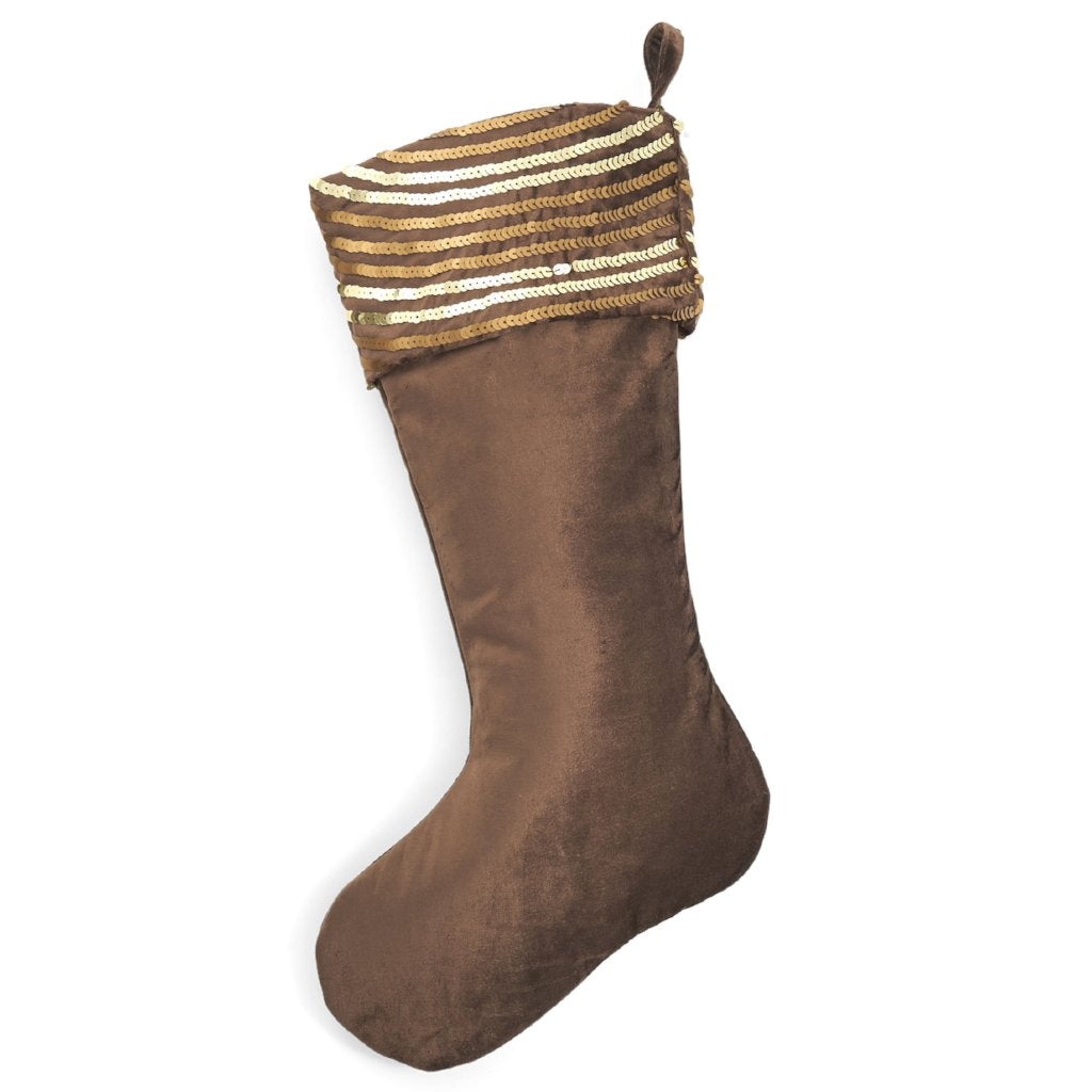 Hand Beaded Brown Velvet Christmas Stocking - Arcadia Home