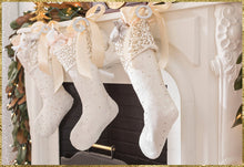 Handmade Velvet Christmas Stocking - White with Sequins - Arcadia Home
