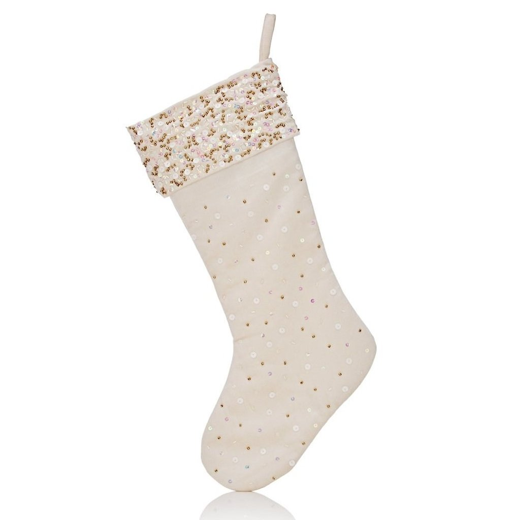 Handmade Velvet Christmas Stocking - Ivory  with Sequins