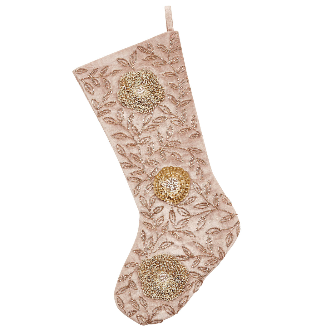 Silver Velvet Christmas Stocking - Hand Beaded Flowers - Arcadia Home