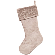 Silver Velvet Christmas Stocking - Beaded Floral Cuff - Arcadia Home