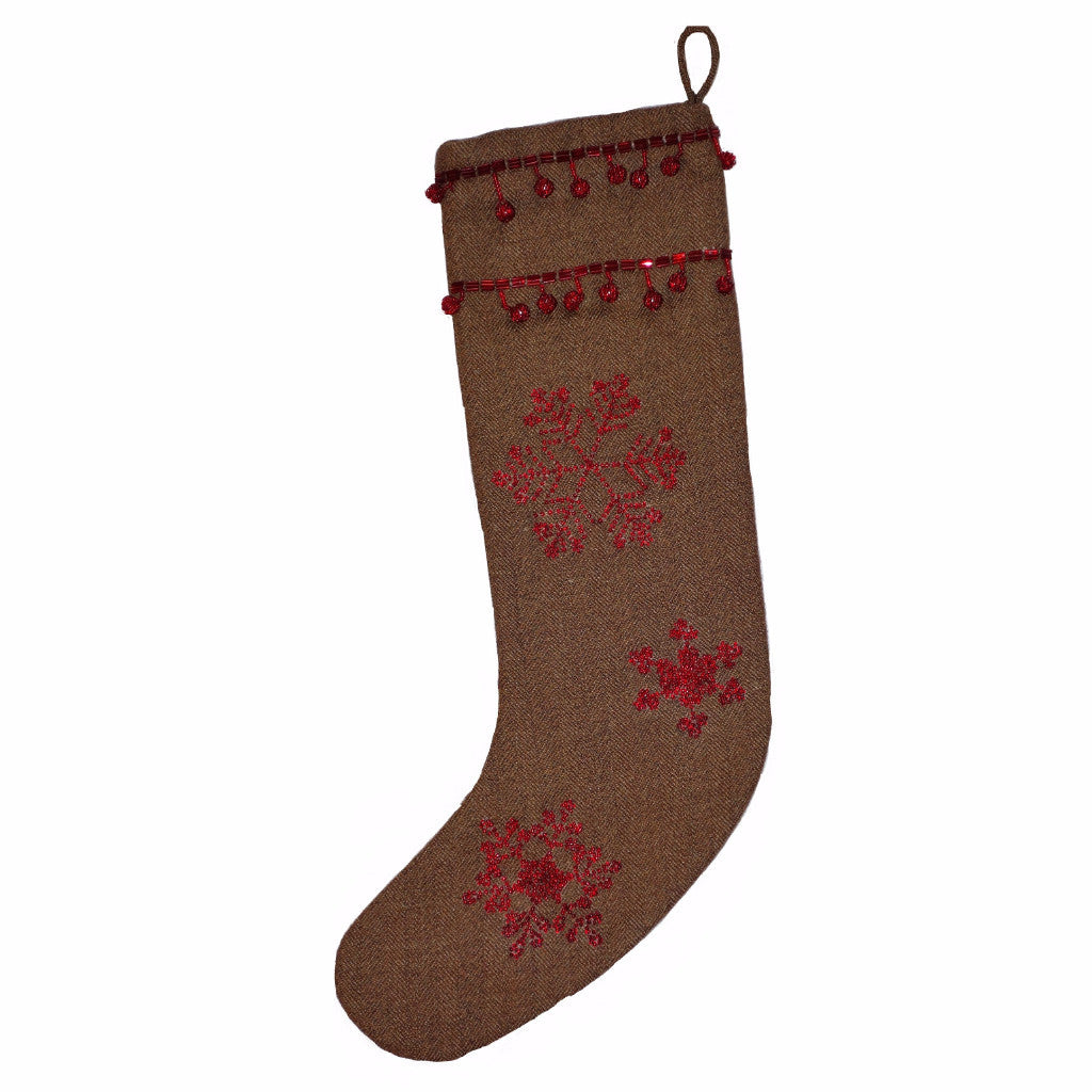 Brown Wool Stocking with Red Snowflakes - Arcadia Home