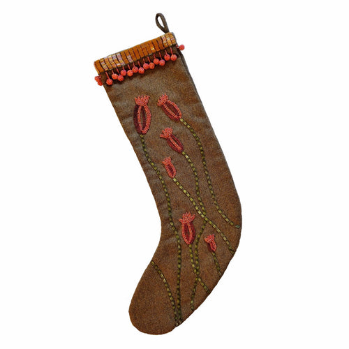 Brown Wool with Colored Poppies Stocking - Arcadia Home