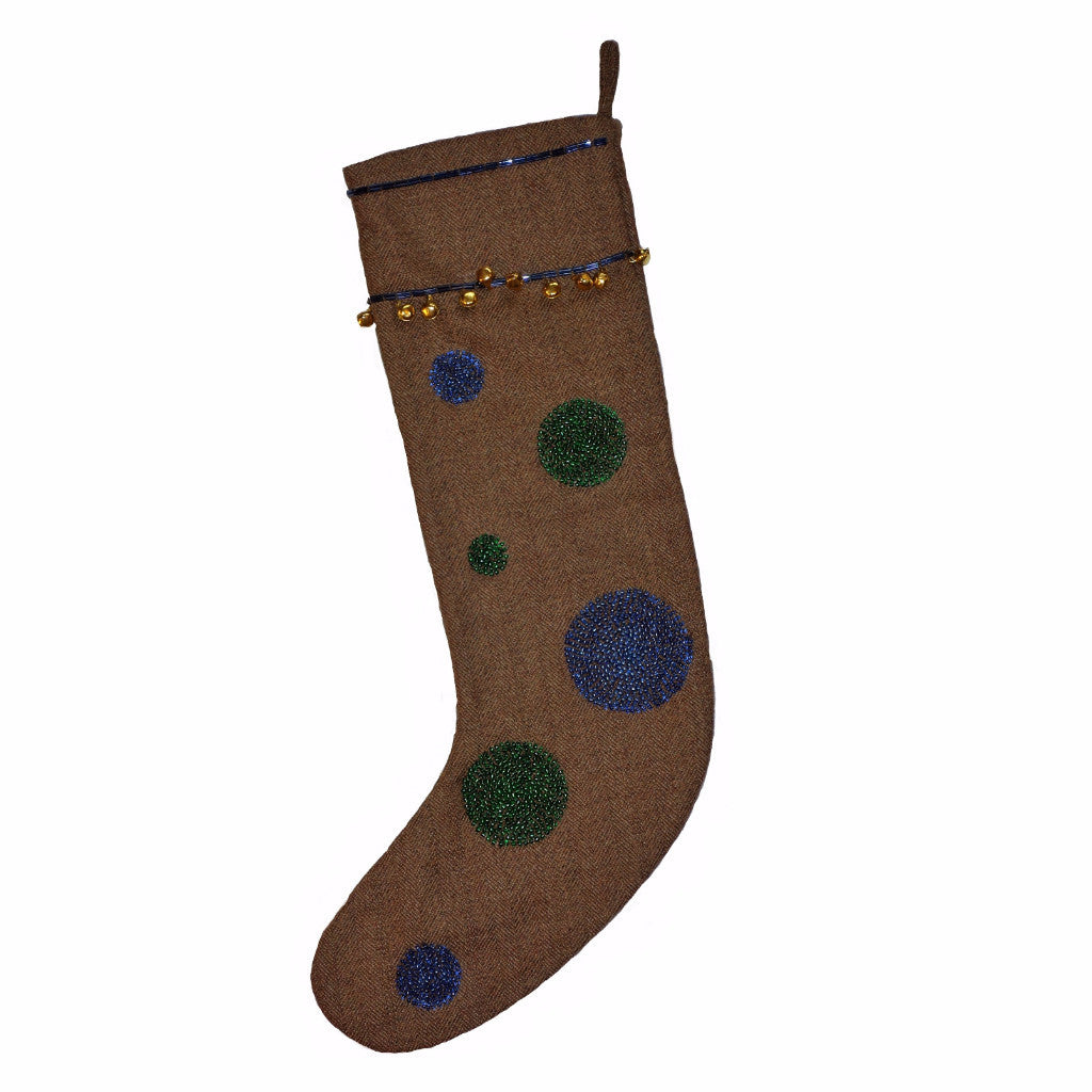 Brown Herringbone Wool Stocking with Blue and Green Circles