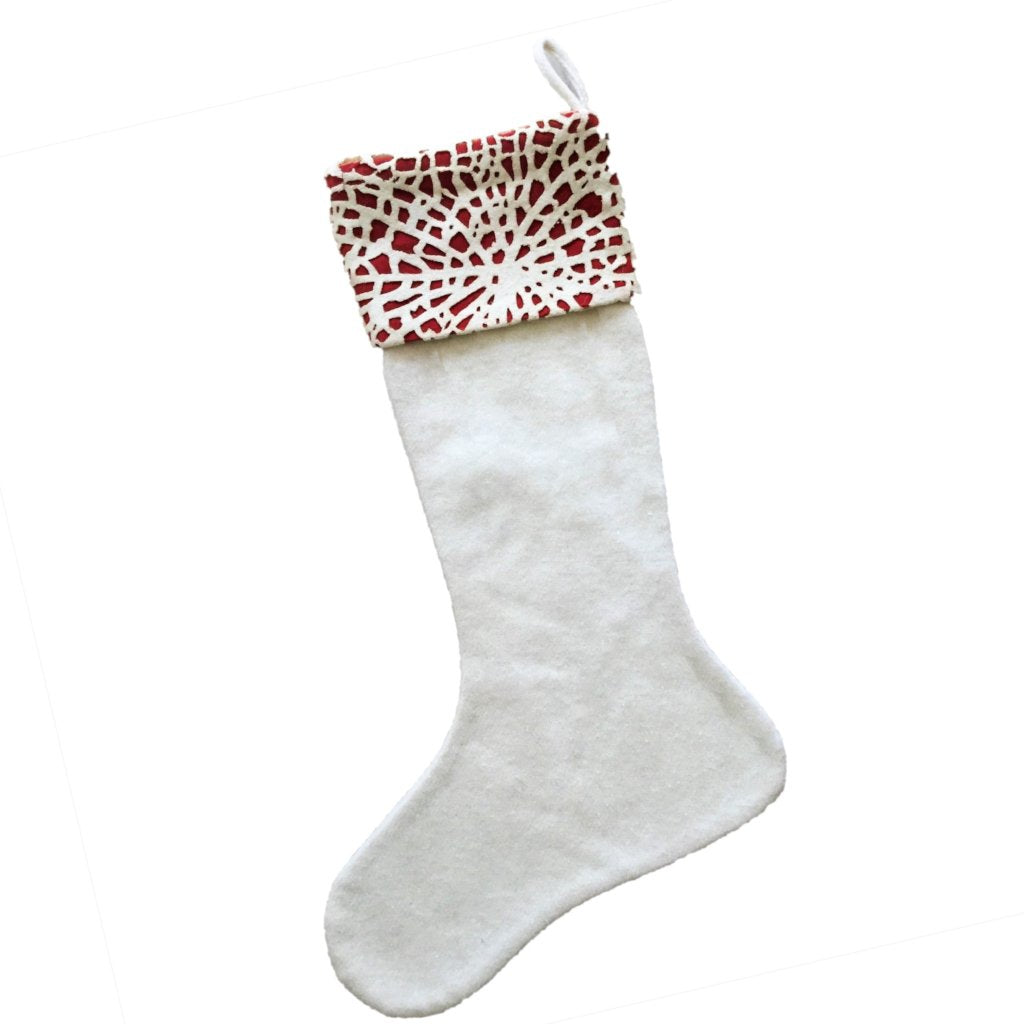 Handmade Laser Cut Cuff Christmas Stocking - Red on Cream - Arcadia Home
