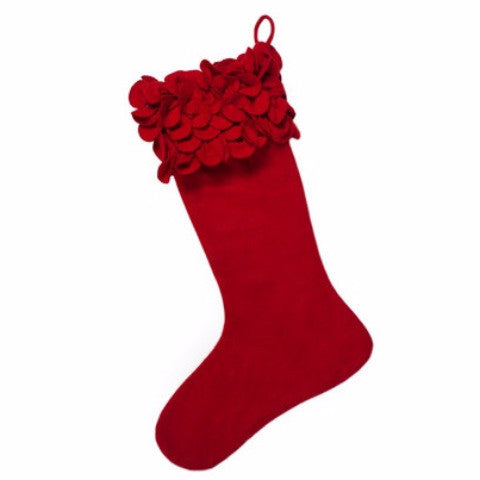 Ruffled Flowers Christmas Stocking in Red - Arcadia Home