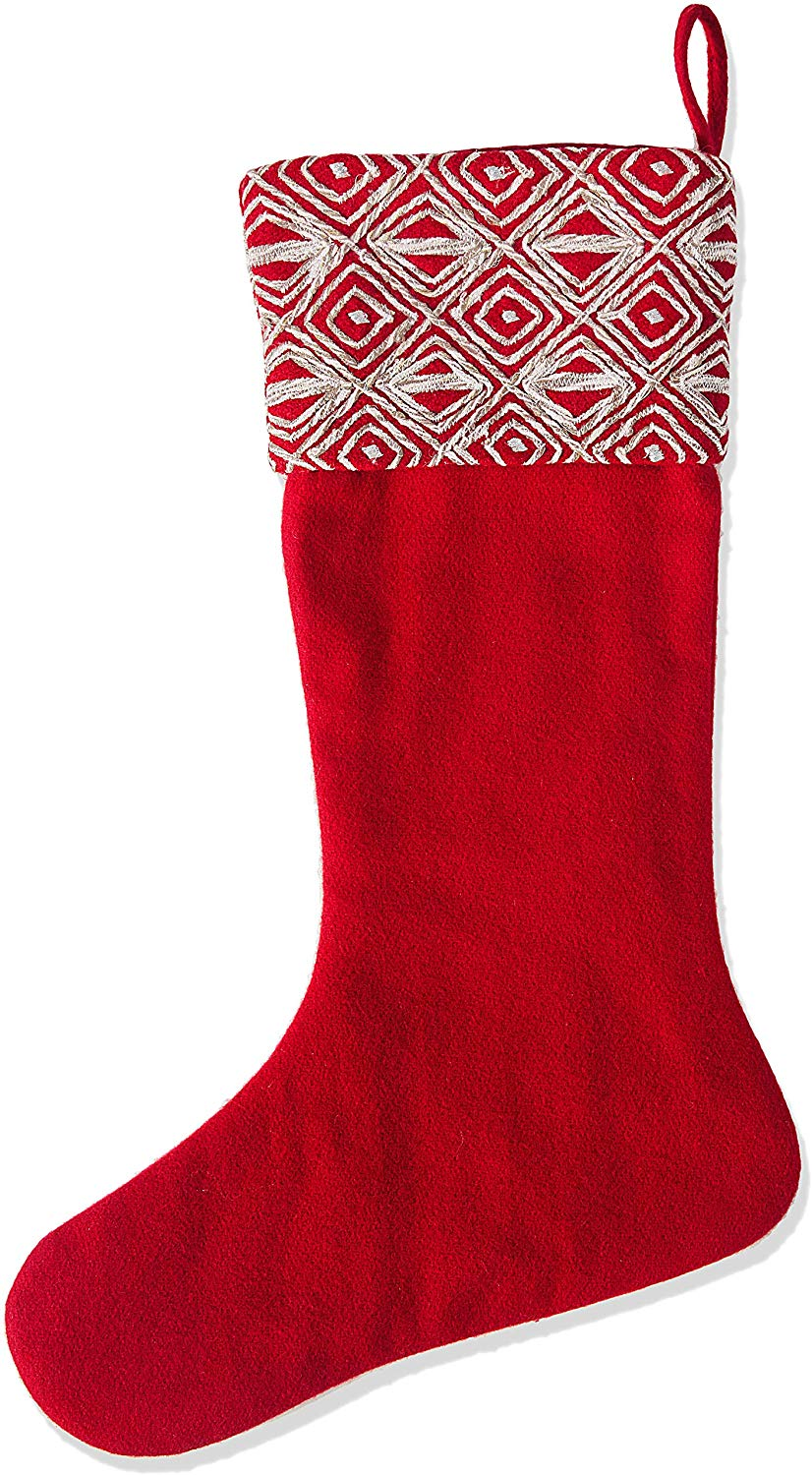 Red Christmas Stocking  with Geo Embroidered Cuff in Recycled Wool - Arcadia Home