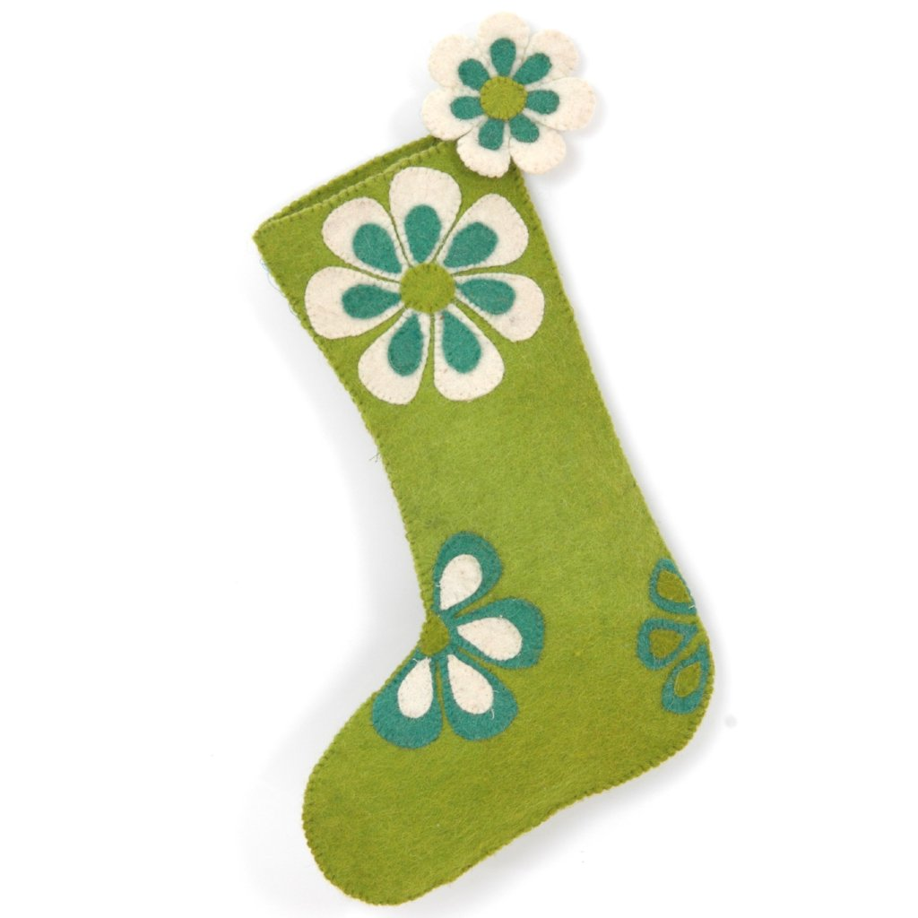 Hand Felted Wool Christmas Stocking - Flower Power in Green