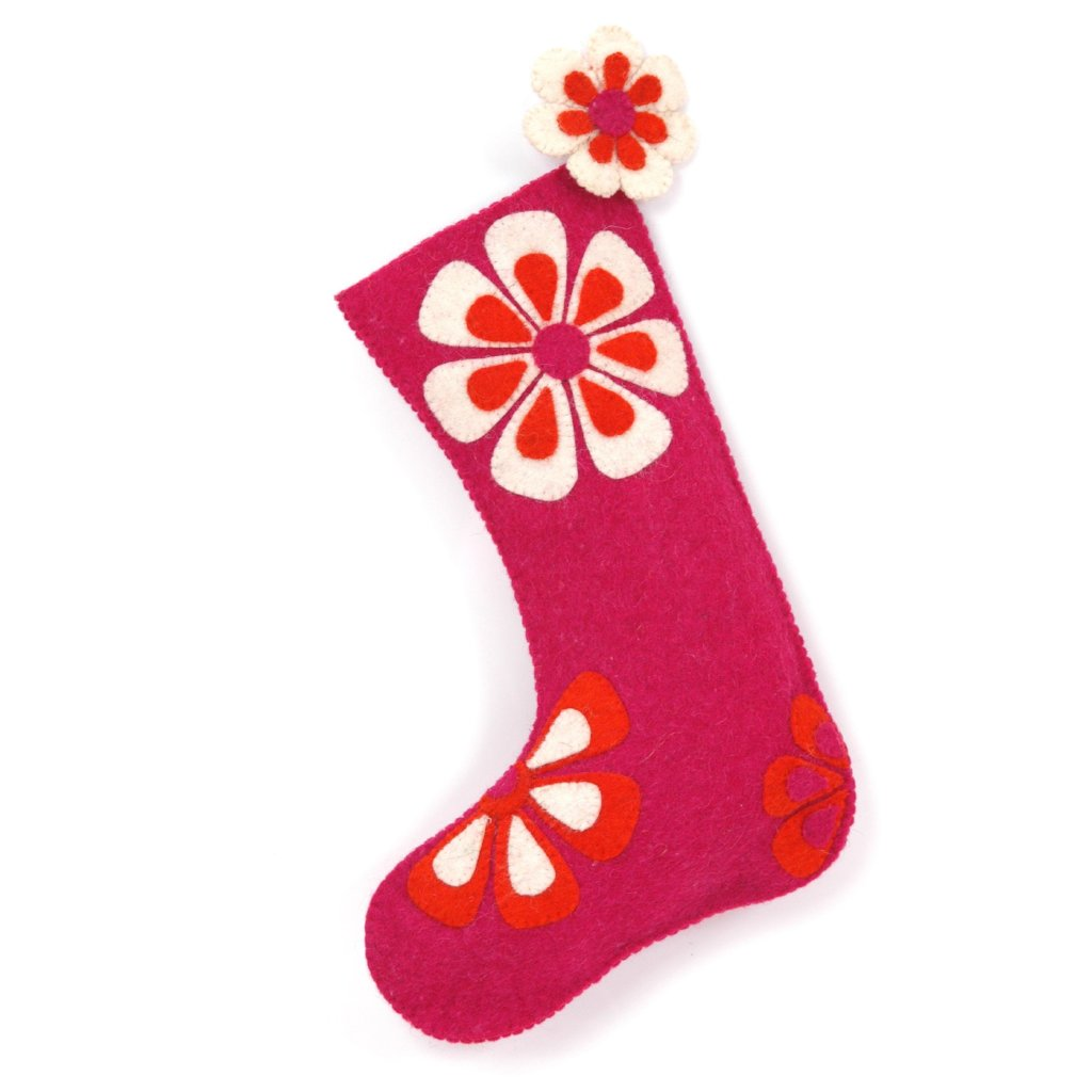 Hand Felted Wool Christmas Stocking - Flower Power in Pink and Orange