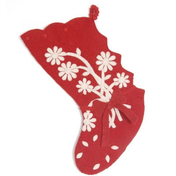 Hand Felted Wool Christmas Stocking - Flower Bouquet on Red