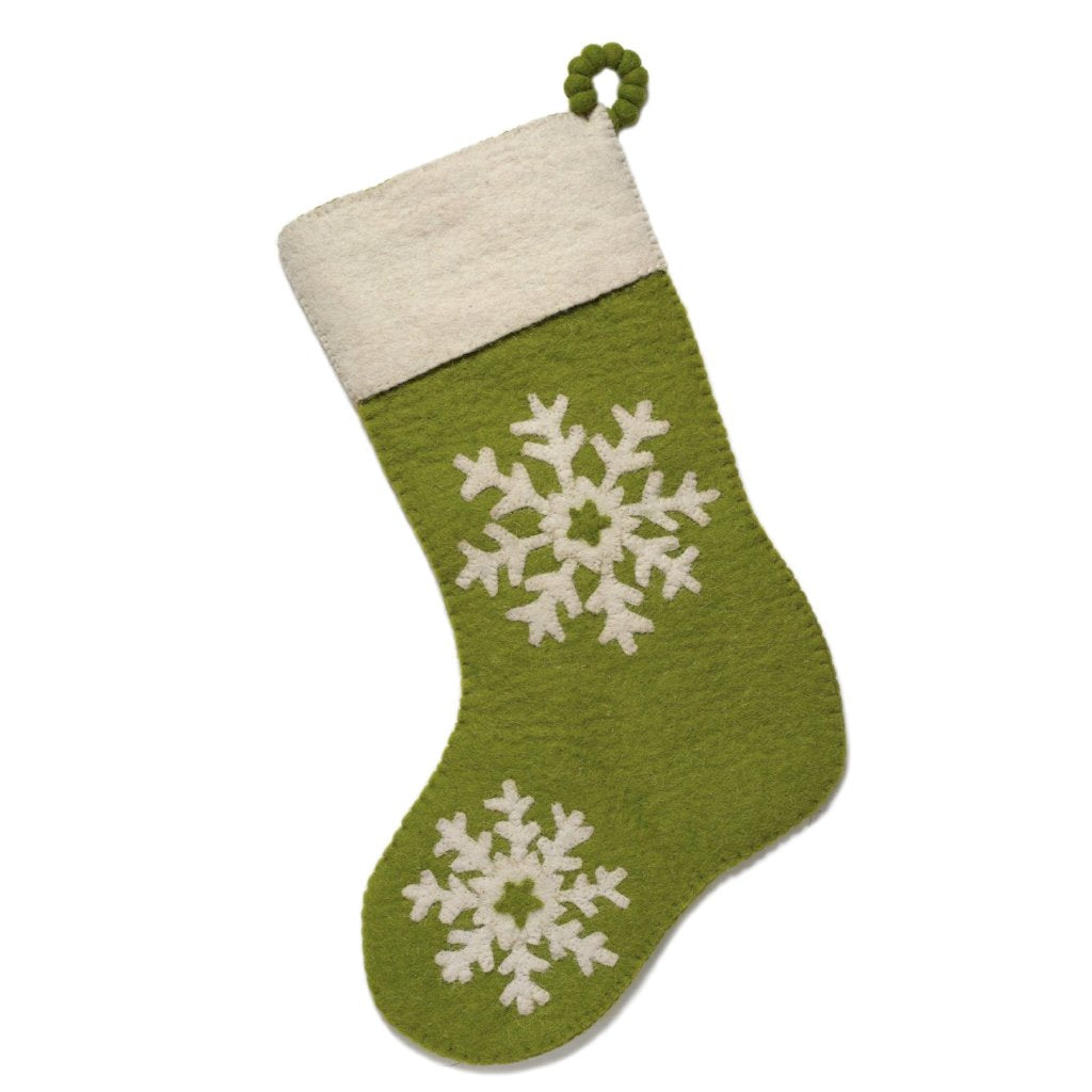 Hand Felted Wool Christmas Stocking - Snowflakes on Green