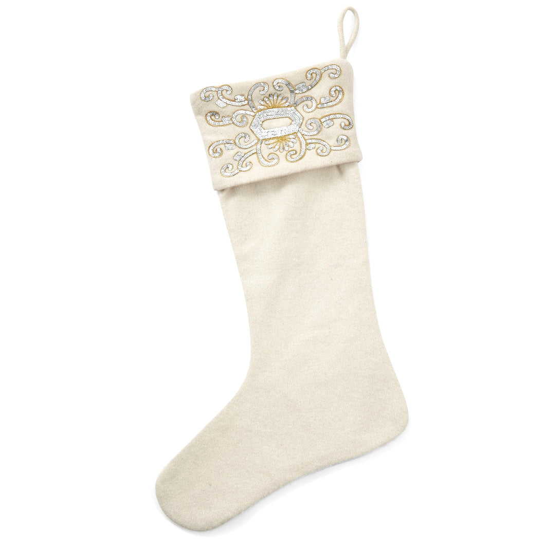 Wool Christmas Stocking with Empress Beaded Cuff - Cream - Arcadia Home