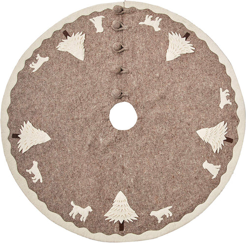 Cream Dogs and Trees Christmas Tree Skirt on Gray in Hand Felted Wool - 60