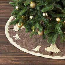 "Cream Dogs and Trees Christmas Tree Skirt on Gray in Hand Felted Wool - 60"" - Arcadia Home"