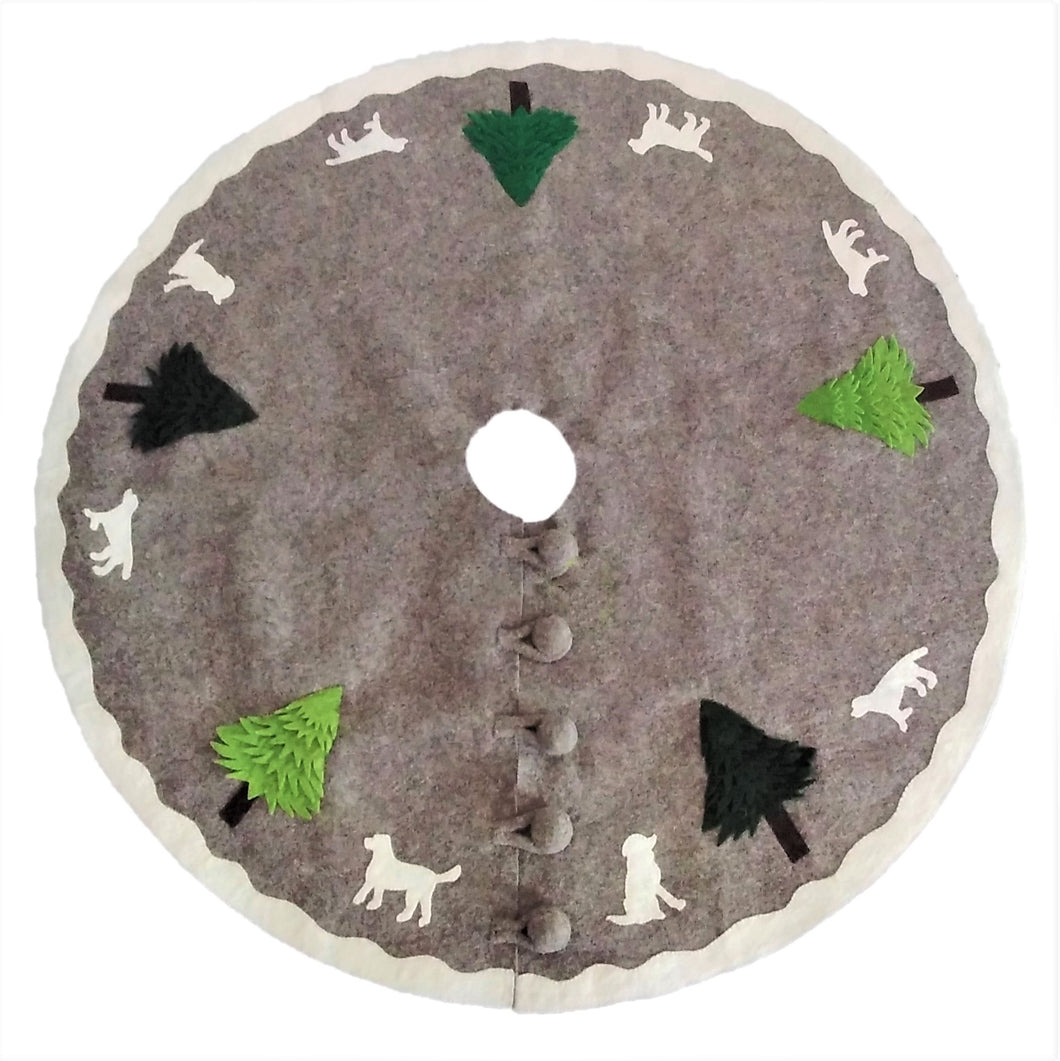 Cream Dogs and Green Trees Christmas Tree Skirt on Gray in Hand Felted Wool - 60