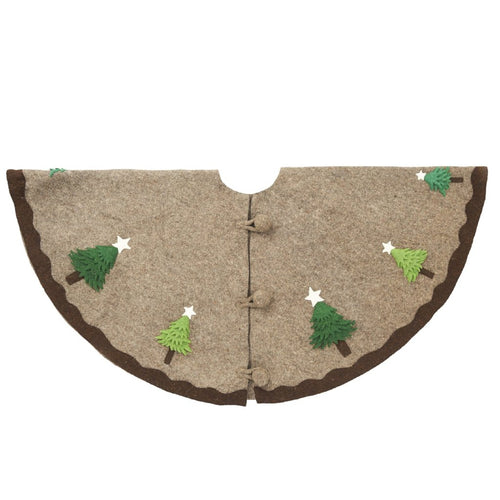 Handmade Christmas Tree Skirt in Felt - Trees on Gray - 60