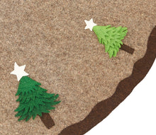 "Handmade Christmas Tree Skirt in Felt - Trees on Gray - 60"" - Arcadia Home"