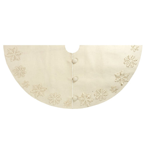Handmade Christmas Tree Skirt in Felt - Tacked Snowflakes on Cream - 60