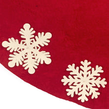 Hand Felted Wool Christmas Tree Skirt - Red with Cream Tacked Snowflakes - 60""