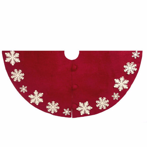 Hand Felted Wool Christmas Tree Skirt - Red with Cream Tacked Snowflakes - 60