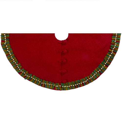 Handmade Christmas Tree Skirt in Felt - Mistletoe Border on Red - 60