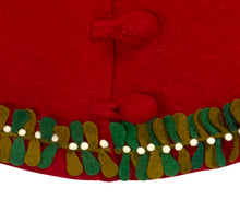 "Handmade Christmas Tree Skirt in Felt - Mistletoe Border on Red - 60"" - Arcadia Home"