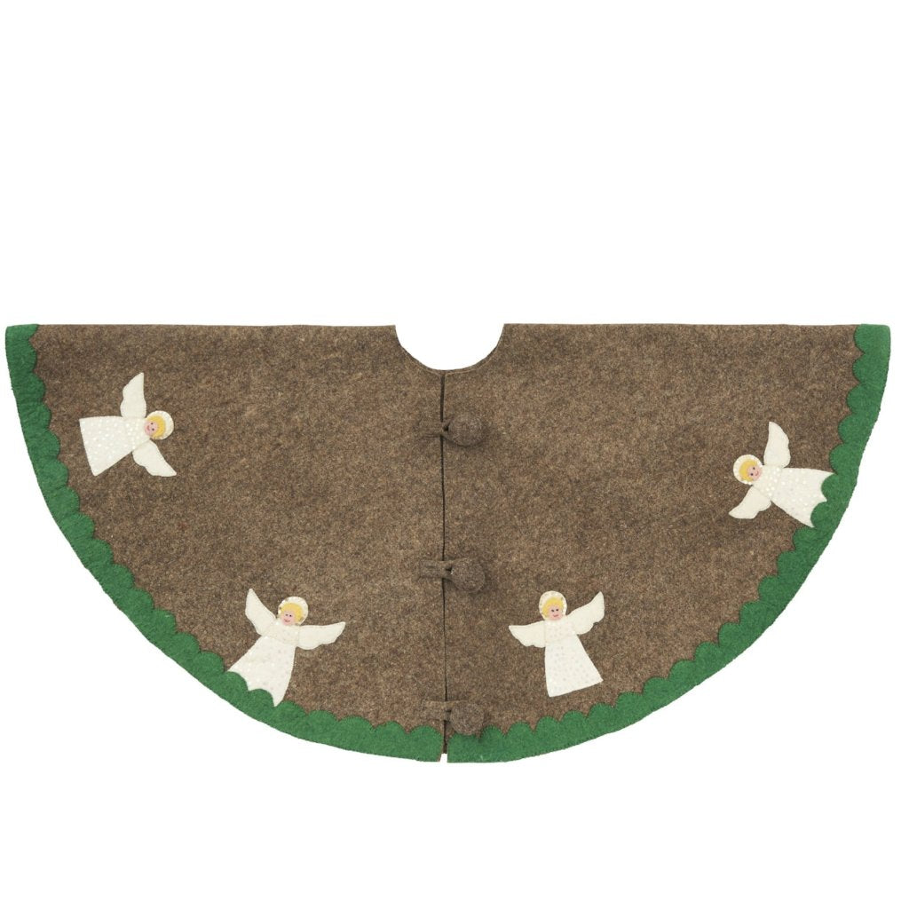 Handmade Christmas Tree Skirt in Felt - Angels on Gray - 60