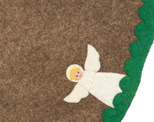 "Handmade Christmas Tree Skirt in Felt - Angels on Gray - 60"" - Arcadia Home"
