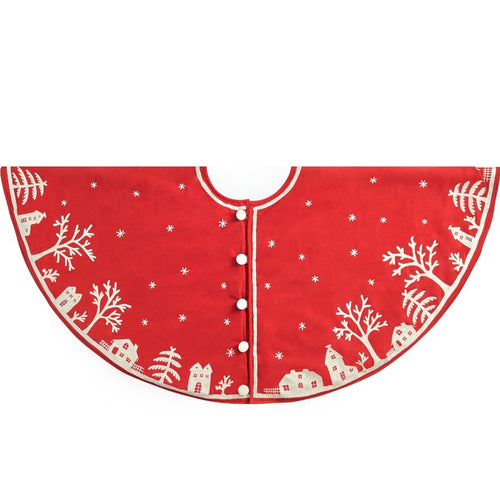 Handmade Christmas Tree Skirt in Cotton - Village Scene on Red - 60