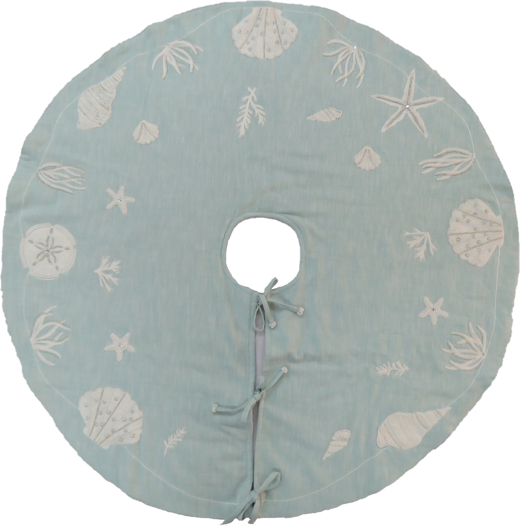 Handmade Christmas Tree Skirt - Seashells on Light Blue Cotton - 60