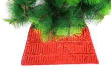 Hand Beaded Adjustable Christmas Tree Collar - Red Sequins