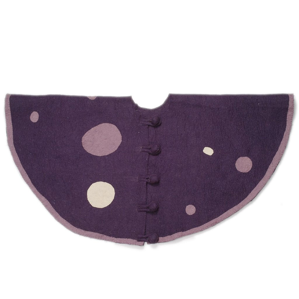 Handmade Christmas Tree Skirt in Hand Felted Wool - Purple Polka Dots - 60