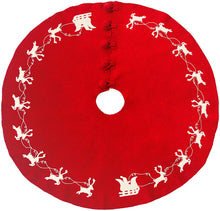 Cream Reindeer on Red Christmas Tree Skirt in Hand Felted Wool - 60""