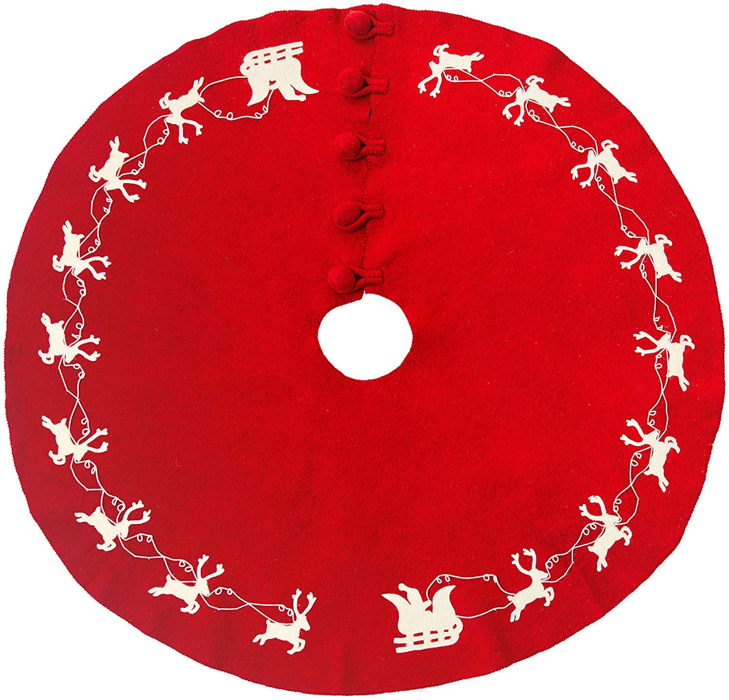 Cream Reindeer on Red Christmas Tree Skirt in Hand Felted Wool - 60