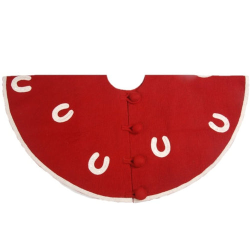 Handmade Christmas Tree Skirt in Felt - Horseshoes on Red - 60
