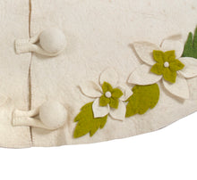 "Handmade Christmas Tree Skirt in Felt - Greenery Border on Cream - 60"" - Arcadia Home"