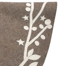 "Handmade Christmas Tree Skirt in Felt - Branches and Stars on Gray - 60"" - Arcadia Home"