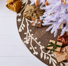 Handmade Christmas Tree Skirt in Felt - Branches and Stars on Gray - 60""