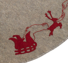 "Handmade Christmas Tree Skirt in Felt - Red Reindeer on Gray - 60"" - Arcadia Home"