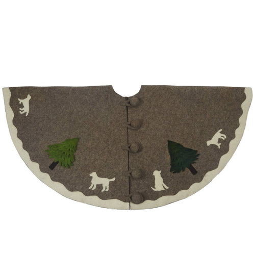 Handmade Christmas Tree Skirt in Hand Felted Wool - Dogs with Trees on Gray- 60