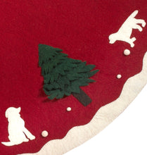 "Handmade Christmas Tree Skirt in Hand Felted Wool - Dogs with Trees on Red- 60"" - Arcadia Home"