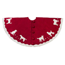 Handmade Christmas Tree Skirt in Hand Felted Wool - Dogs on Red- 60""