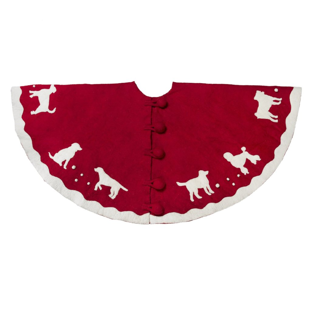Handmade Christmas Tree Skirt in Hand Felted Wool - Dogs on Red- 60