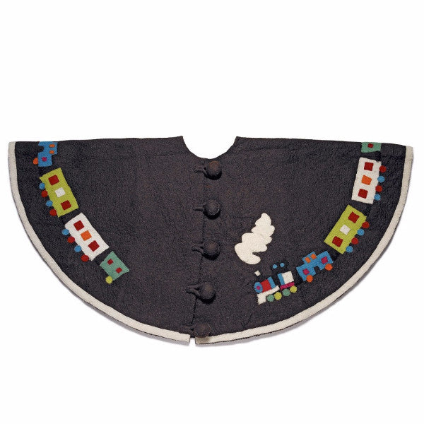 Toy Train Christmas Tree Skirt in Chocolate - Arcadia Home