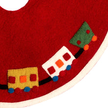 "Mini Christmas Tree Skirt - Train on Red - in Hand Felted Wool - 26"" - Arcadia Home"