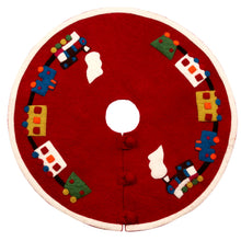Mini Christmas Tree Skirt - Train on Red - in Hand Felted Wool - 26""