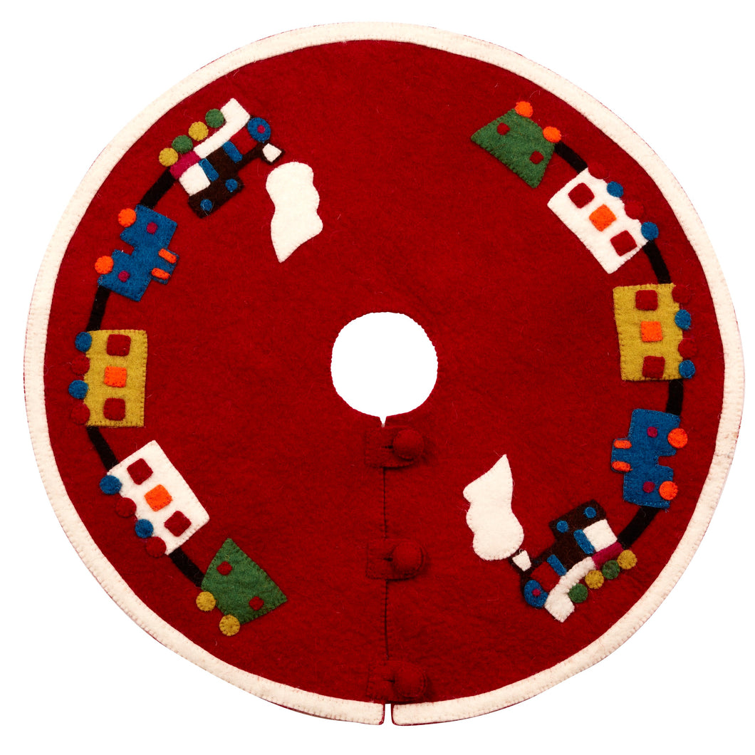 Mini Christmas Tree Skirt - Train on Red - in Hand Felted Wool - 26