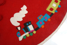 Handmade Christmas Tree Skirt in Felt - Toy Train on Red - 60""