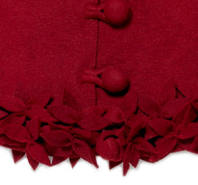 "Hand Felted Wool Christmas Tree Skirt - Overlapping Flowers Border in Maroon - 64"" - Arcadia Home"