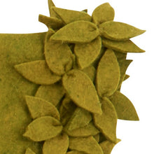 "Hand Felted Wool Christmas Tree Skirt - Overlapping Flowers Border in Chartreuse Green - 64"" - Arcadia Home"